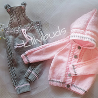 Knitting pattern for Little Danny baby set. Dungarees and Jacket