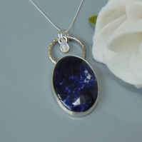 Sterling Silver Sodalite and Moonstone Pendant