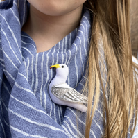 Herring Gull Brooch, Seaside Bird Jewellery