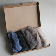 "Carded Corriedale wool slivers selection - ""stone"" letterbox pack"