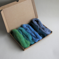 "Carded Corriedale wool slivers selection - ""blues"" letterbox pack"