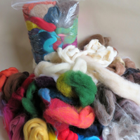 Bargain Bumper Bag of mixed quality wool and fibre for felting (250g)