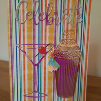 Handcrafted Celebration Cards - Let's Party Card - Handmade Birthday Cards