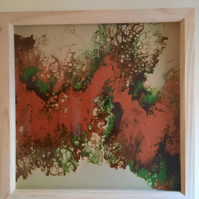 Original Acrylic Pour Painting in Neutrals – Modern Art – Framed wall Art