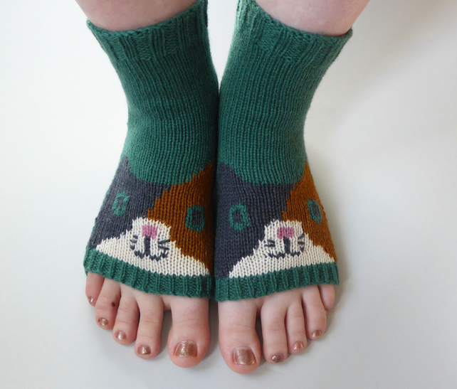 Calico Cat Toeless Yoga Socks, Dance socks, Pilates Socks, Sandal Socks