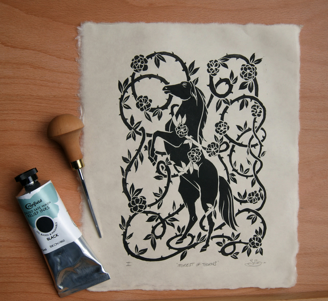 Forest of Thorns Fairytale Sleeping beauty horse rose bush black lino print art