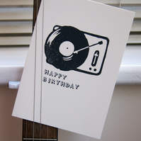 Birthday record player lino print card for music lover, hand printed handmade