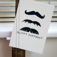 Birthday lino print moustache card, handmade and hand printed, unique gentleman