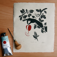 Snow white poisoned apple lino print, fairytale art, handmade gift