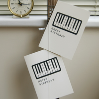 Lino printed piano music lover birthday greetings card personalised musician Act