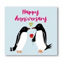 Penguin Couple Happy Anniversary Card