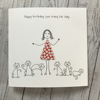 Crazy Cat Lady card, Cat lover, Personalised
