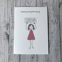 Sending you a great big hug card, Personalised card