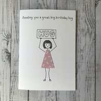Sending you a great big birthday hug card, Personalised card