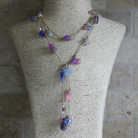 Mixed pink, blue and lilac Lariat, Long necklace