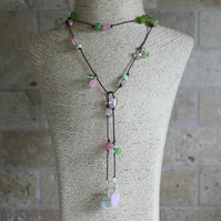 Mixed Green and Pink Lariat, Long necklace