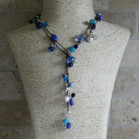 Blue and Silver beaded Lariat, Long necklace