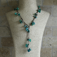 Turquoise and Silver beaded Lariat, Long necklace