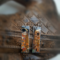 Gustav Klimt The Kiss Upcycled Lightweight Tin Earrings