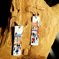 Little People Lightweight Tin Earrings Sterling Silver Ear Wires