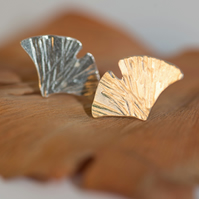 Gingko Leaf Earrings, Silver Studs