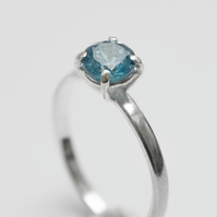 Handmade Classic Prong Setting Silver Ring, with round blue zirconia
