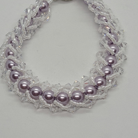 Faux pearl, crystal and seed bead bracelet         001