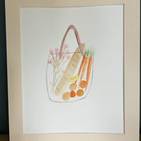 Original Kitchen Watercolour, Shopping Basket, Fruit Basket, Wall Art