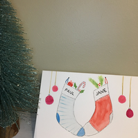 Hand Painted Personalised Christmas Card, Christmas Stockings
