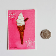 Original ACEO miniature watercolour painting Ice Cream Cone with Flake