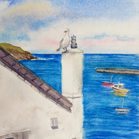 Small original watercolour painting, Watching Over Port Isaac