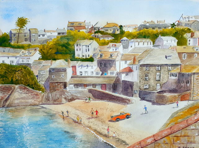 Original watercolour painting of Port Isaac Harbour and Beach, Cornwall