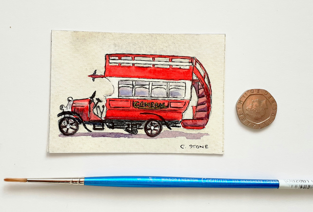 Original ACEO miniature watercolour, Vintage B type London Bus