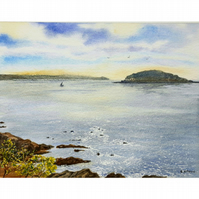 Early morning at Looe Island, Cornwall. Original watercolour painting.