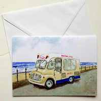 Blank greetings card A5 classic Commer ice cream van from original watercolour