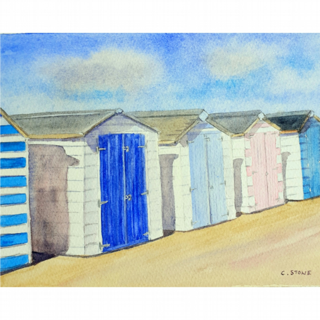 Small watercolour painting, A Row of Beach Huts