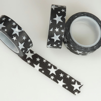 Scattered Black n White Star pattern, Decorative Washi Tape, Card making, 10m