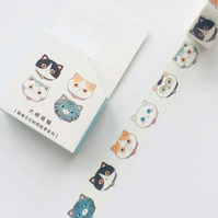 Kitty Cat, Kawaii Cat Faces decorative washi tape. 7m, cards, crafts, journals