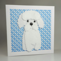 Bichon Frise Dog Card, Blank inside, Birthday, Greeting, Universal gift card