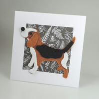 Beagle Dog Card, Blank inside, Birthday, Greeting, Universal card, Hound Dog