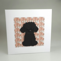 Miniature Poodle Dog Card, Blank inside, Birthday, Greeting, Universal gift card