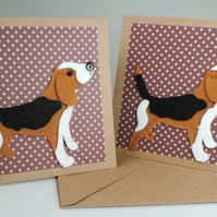 Beagle Dog Cards, Blank, Birthday, Greeting, Universal card, Hound Dog, Set of 2