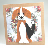 Beagle Dog Card, Blank inside, Christmas, Greeting, Universal card, Hound Dog