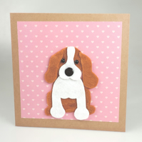 Beagle puppy Dog Card, Blank inside, Christmas, Greeting, Universal card,