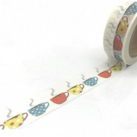 Multi coloured Cup pattern, Tea cup,  Decorative Washi Tape, Journal, crafts 10m