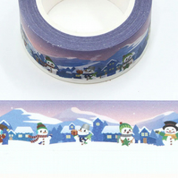 Snowman village 20mm Washi Tape, 10m, Decorative Tape, Cards, Journal,