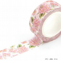Pink Hydrangea Washi Tape, Decorative Adhesive Tape, Pink flowers, Cards, 7m