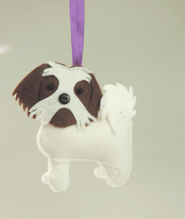 Handmade Felt Shih Tzu Dog, White &Brown Toy Dog, Hanging Decoration, Twig Tree,