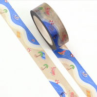 Summer at the Beach, 15mm Washi Tape, 10m,  Decorative Tape, Cards, 10m