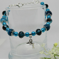 Dolphin Blue Beaded Bracelet